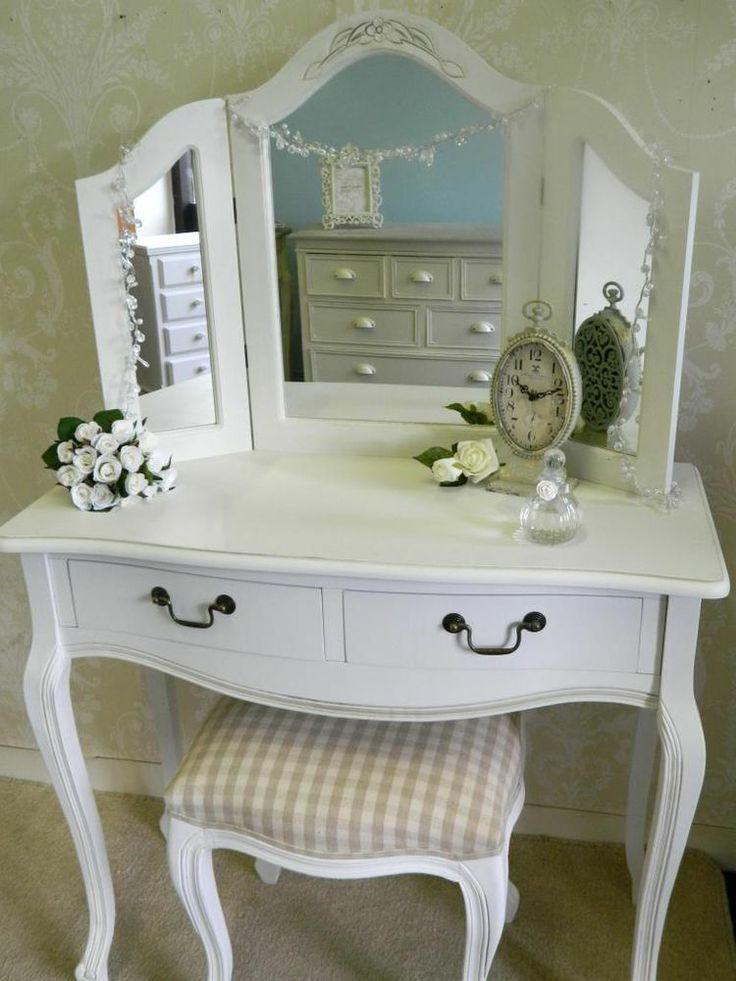 Mirrored Vanity Table And Stool: Dressing Table Mirror Stool Shabby French Style Vintage