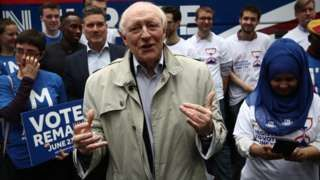 "Image copyright                  Getty Images  Young people must register to vote in the EU referendum as a low turnout could lead to Brexit ""by default"", ex-Labour leader Neil Kinnock has warned. Lord Kinnock said he hoped young voters would back the UK staying in the EU. His message at a London rally came as he and five fellow former Labour leaders tried to persuade the party's supporters to vote to remain in Europe.  Meanwhile, Vote Lea"