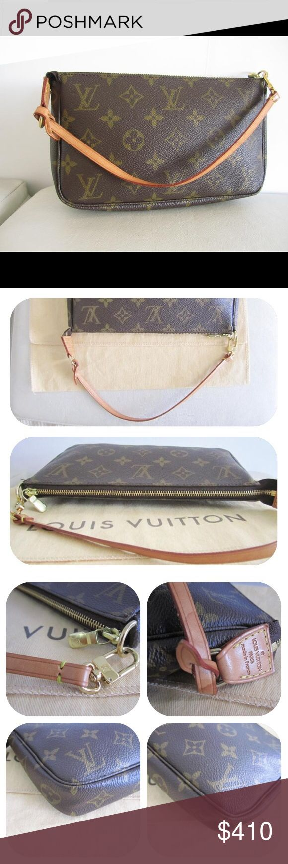 """Authentic Louis Vuitton Monogram Pochette Preowned. Please view all photos carefully, as they are an essential part of the description. Date code: VI1000. Dimensions: 9 """" length, 1"""" depth, 6"""" height. 5.5"""" strap drop. Zip closure. Can be carried as a clutch, wristlet, or pochette. Louis Vuitton dustbag is for display purposes only. Price is firm. No trades or PayPal. Louis Vuitton Bags Shoulder Bags"""