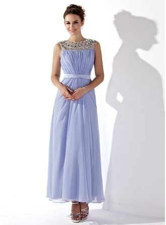 A-Line Princess Scoop Neck Ankle Length Chiffon Prom Dress With Ruffle Beading 018021121 g21121