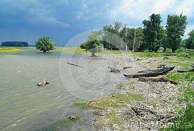 Landscape from the Danube delta with boat, Romania