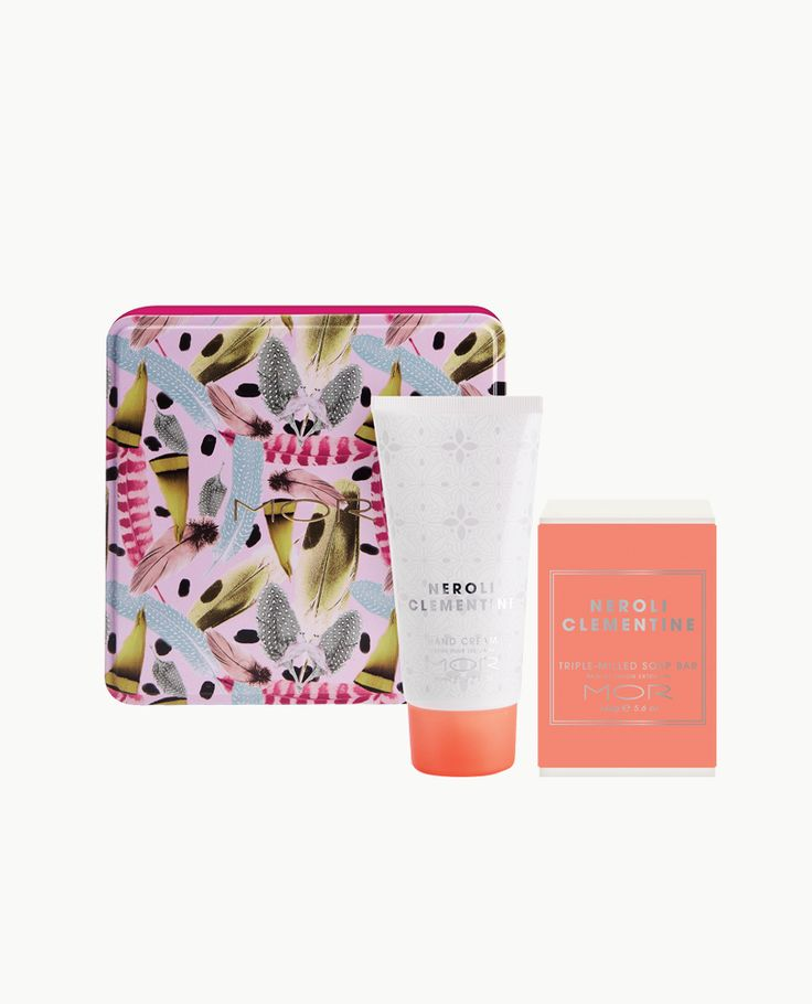 An Essentials duo containing a vitamin enriched Triple-Milled Soap Bar and Hand Cream in the sweet citrus scent of Neroli Clementine, encased in an adorned keepsake tin.