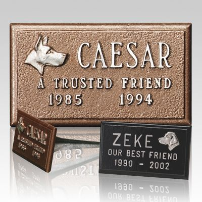 The Cast Aluminum Pet Headstone is made from a lightweight cast aluminum which provides durability and economy. The marker features a textured bronze-tone or black finish with brushed aluminum letters, all upper case Roman style. The piece can be customized to include the name of the pet, numeric years of birth and death, a breed specific applique and a short line of sentiment for your faithful friend. An eleven inch, three spline shaft provides secure anchoring in the ground.  Allow four to…