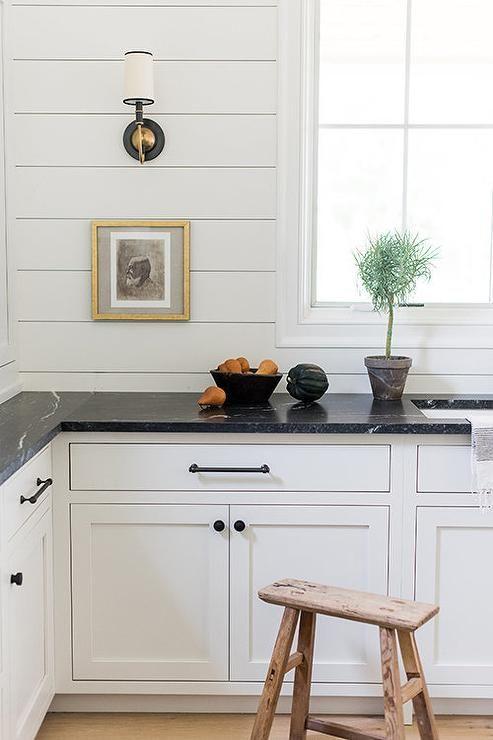 Black Soapstone Countertops with Shiplap Backsplash ...