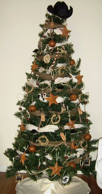 western/cowboy christmas stocking | Our natural cowboy Christmas tree in the living room , and mantel ...