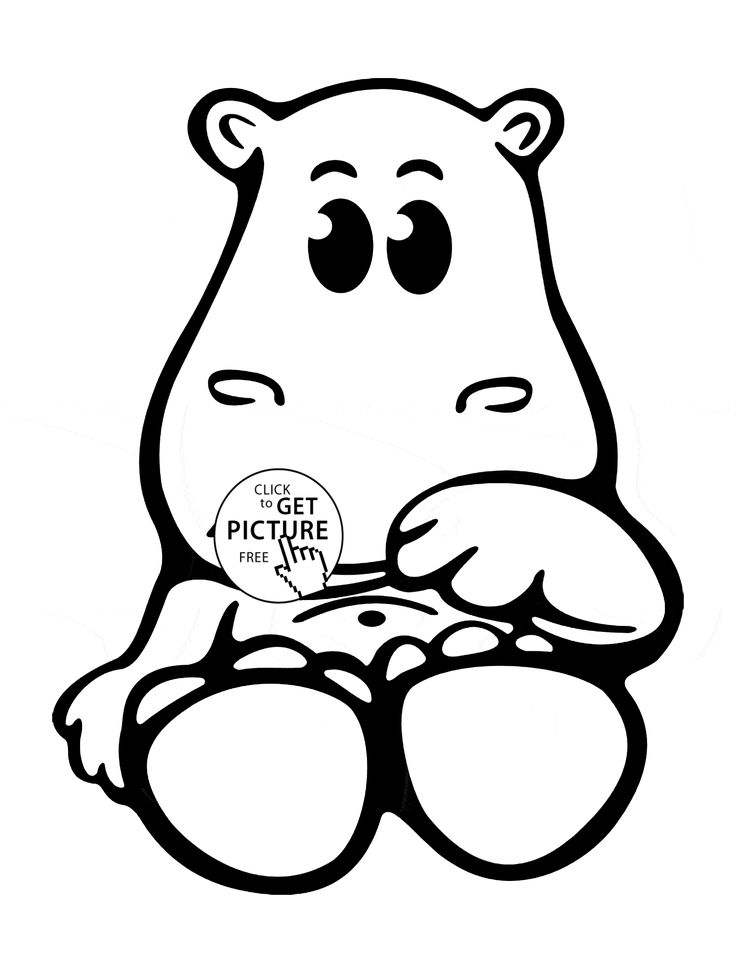 Cute Baby Hippo Animal Coloring Page For Kids Pages Printables Free