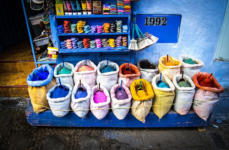 Picture of colorful dies in Chefchaouen.  Everyone that visits Chefchaouen says the same thing, spending time here makes you want to smile more.