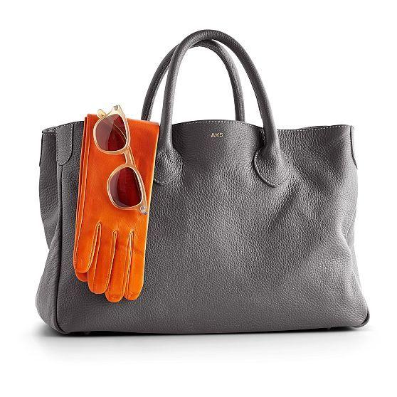 love the orange gloves with the gray handbag.  Elisabetta Handbag | Mark and Graham