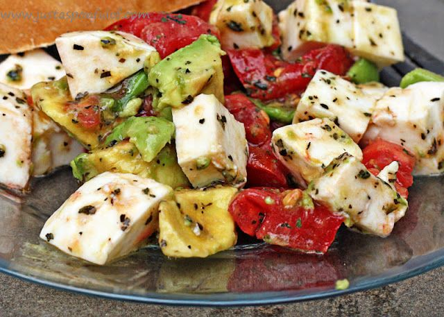 Just a Spoonful of: Avocado / Tomato/ Mozzarella Salad: Tomato Mozzarella Salad, Tomatoes Mozzarella Salad, Soups Salad, Avocado Tomatoes Salad, Olives Oil, Avocado Salad, Recipes, Summer Salad, Fresh Mozzarella