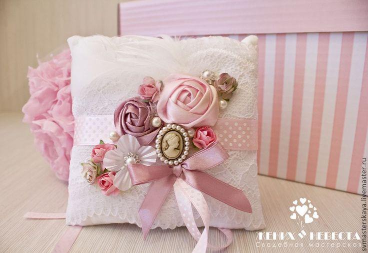 Купить Винтаж - бледно-розовый, подушечка для колец, подушечка для загса, подушечка на свадьбу, подушечка, винтаж