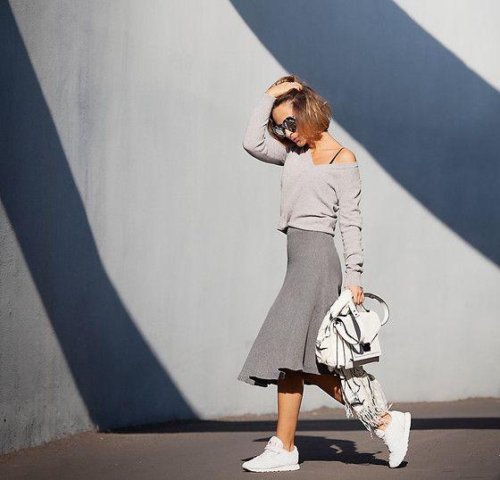 Galant-Girl Ellena - Loeffler Randall White Satchel Bag, Reebok Sneakers - Grey scale.