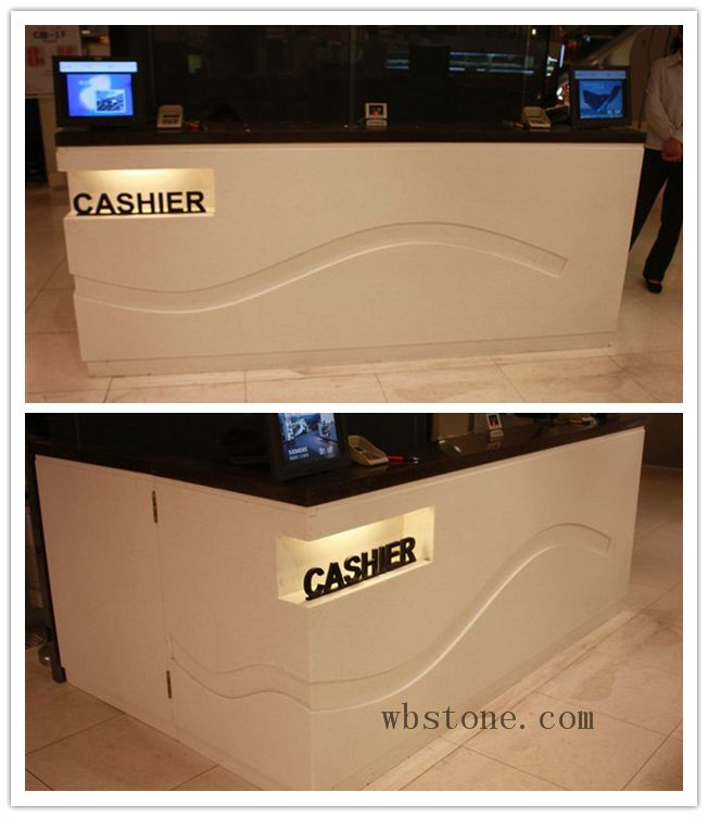 Black artificial stone cashier reception counter  RE046