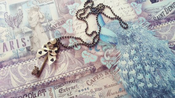 Bronze Key Bow Pendant Ballchain Necklace by CinnamonJane on Etsy