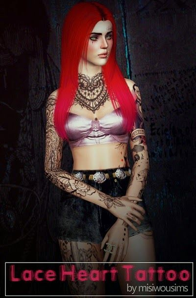 My Sims 3 Blog: Lace Heart Tattoo by Misiwousims