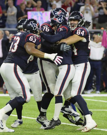 Colts vs. Texans:   October 17, 2016   -  26-23, Texans  -     Houston Texans kicker Nick Novak, center,  celebrates with teammates after he kicked a 33  yard field goal during overtime of an NFL football  game against the Indianapolis Colts, Sunday,  October, 16, 2016, in Houston. Houston won 26  23. (AP Photo/George Bridges)
