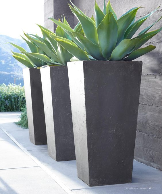 tall grey modern planters - $175 - https://www.etsy.com/listing/521181483/contemporary-precast-stone-planters