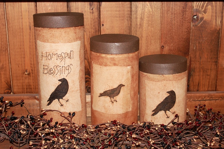 Something To Crow About Primitive Canister Set-3 Piece. $32.50, via Etsy.