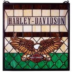 Harley Davidson Motorcycles Stained Glass Window
