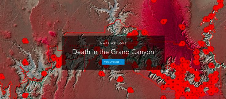A map of all the people who died in the Grand Canyon, from the XIX century up today, made by the US agency Esri.
