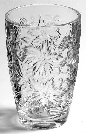 Princess House - Princess House Fantasia 12 Oz Flat Tumbler - Clear,Pressed Dinnerware,Floral Design