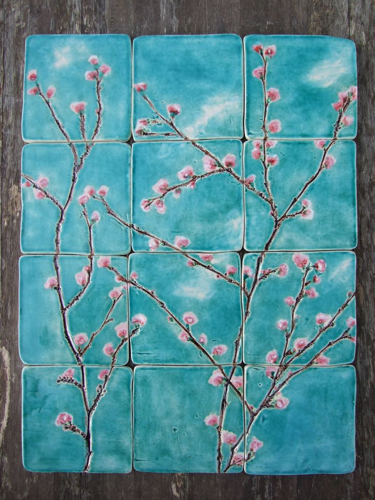 12 cherry blossom ceramic tiles pink blossoms in turquoise sky, dreamy white clouds, kitchen, bathroom Made to order. £180.00, via Etsy.