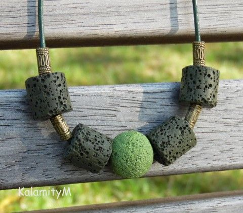Palouk - lávový náhrdelník náhrdelník dárek khaki tmavě zelená světle zelená lávové korálky