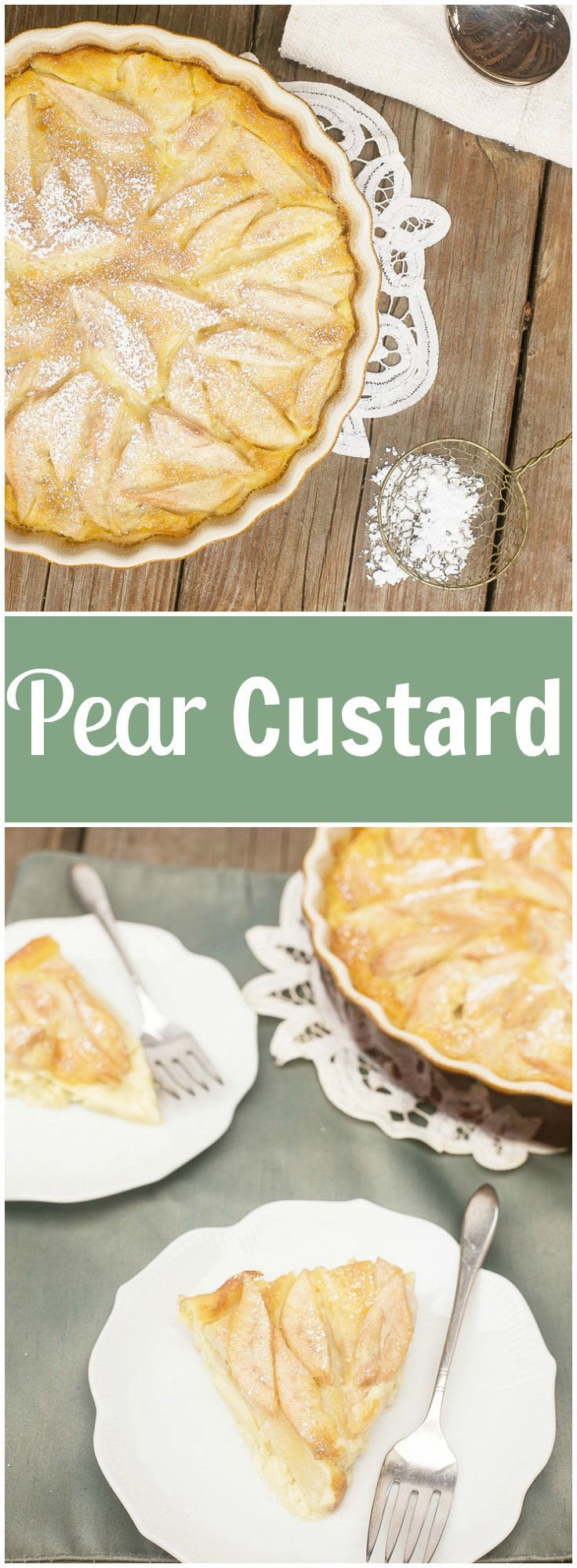 PEAR CUSTARD PIE - 4 pears of any variety cored, peeled and thinly sliced, ¼ C unsalted butter, 3 eggs, ¾ C milk, ¼ tsp kosher salt, ⅓ C granulated sugar, ⅓ C all purpose flour, 2 tsp pure vanilla extract, Powdered sugar for garnish, Cooking spray