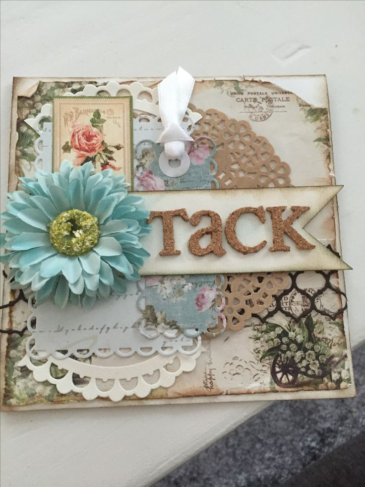 Thank you card shabby chic