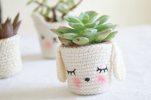 cute home decor puppy crochet cozy bunny succulent for the home pot cover