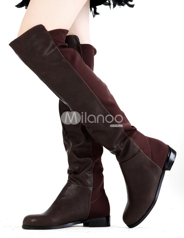 Concise Coffee PU Leather Over The Knee Length Women's Riding Boots - Milanoo.com