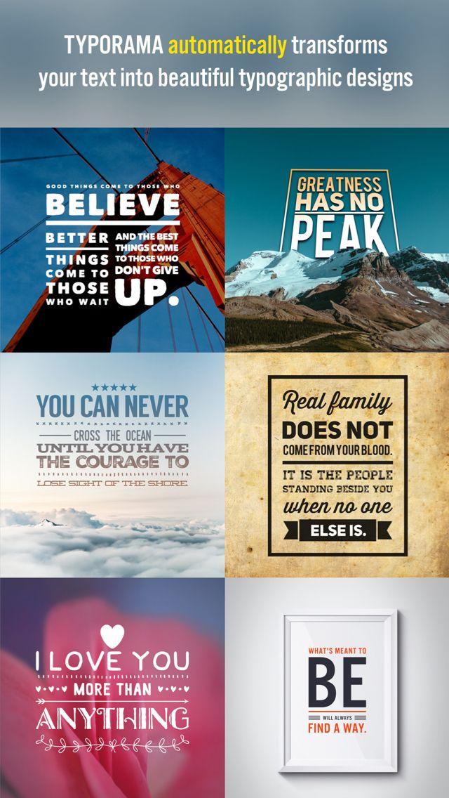 iPhone App Typorama - Typography Generator and Instant Text Over Photo Editor | Photo