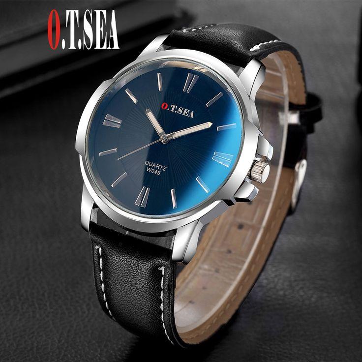 Hot Sales O.T.SEA Brand Blue Ray Glass Leather Watch Men Fashion Quartz Analog Wristwatches Male Watch W045