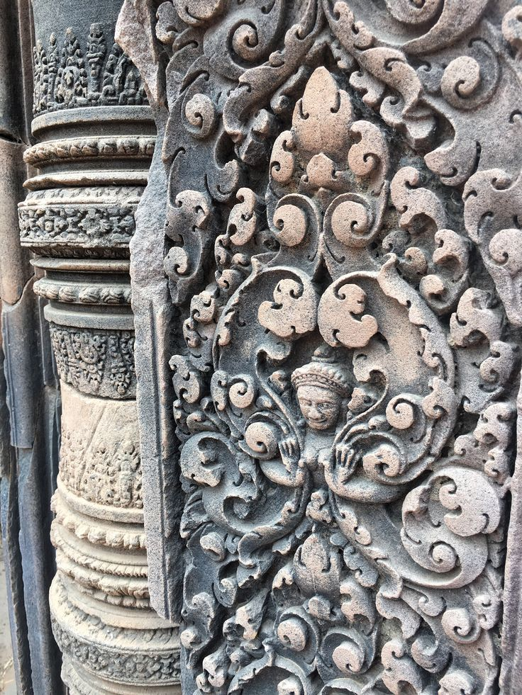 Sandstone carving. Banteay Srei, Siem Reap, Cambodia. 27 March 2016.