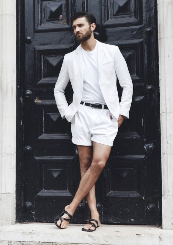 Shop this look on Lookastic:  https://lookastic.com/men/looks/blazer-crew-neck-t-shirt-shorts-sandals-belt/11063  — White Crew-neck T-shirt  — White Blazer  — Black Leather Belt  — White Shorts  — Black Leather Sandals
