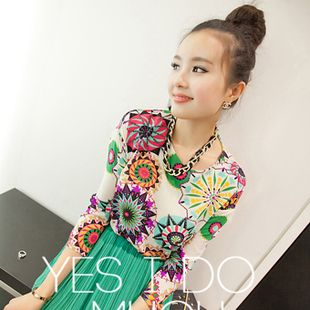 2013 new spring Korean version of the trend of retro print chiffon shirt loose blouse neon color ladies' women shirt-in Blouses & Shirts from Apparel & Accessories on Aliexpress.com
