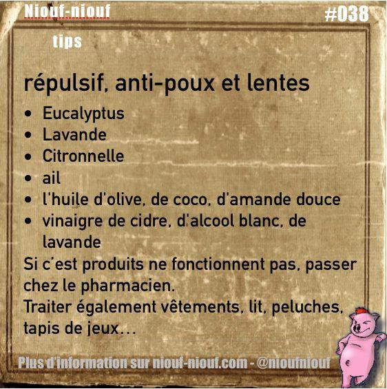 Tips Niouf-niouf : répulsifs et anti-poux et lentes naturels #trucs #astuces #poux #lentes