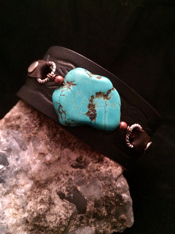 Handmade one of a kind leather cuff bracelet with turquoise stone on Etsy, $25.00