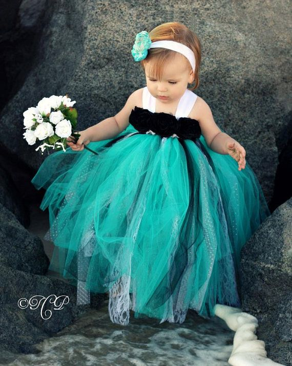 Black White Teal Tutu Dress Flower Girl Dress Tutu by lovebug11, $62.00