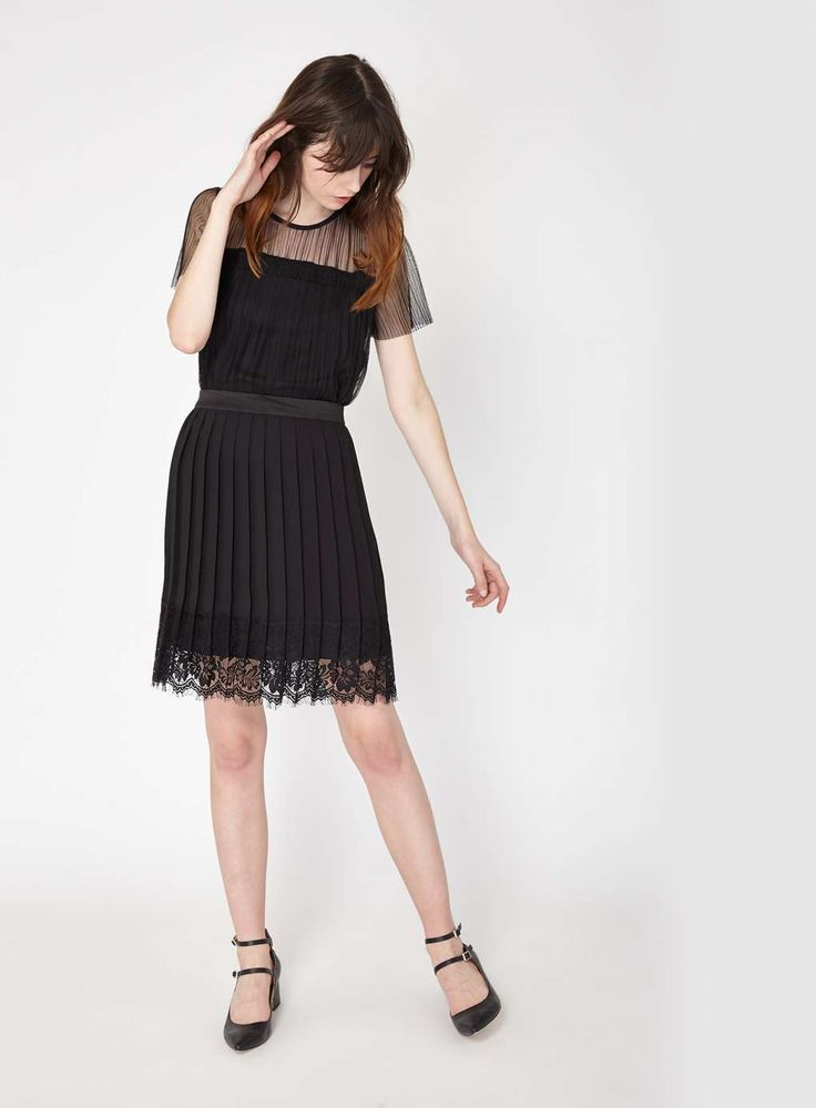 Black Pleat Lace Hem Skirt - Clothing - New In - Miss Selfridge