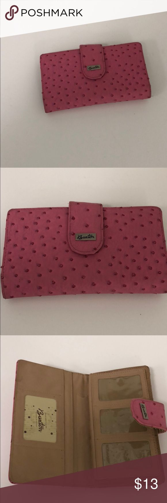 Buxton wallet Buxton pink eel skin like texture ladies wallet. Pretty in pink with all of the pockets and dividers necessary to house all that you desire. Like new condition. Nice find.👍🏾 Buxton Bags Wallets