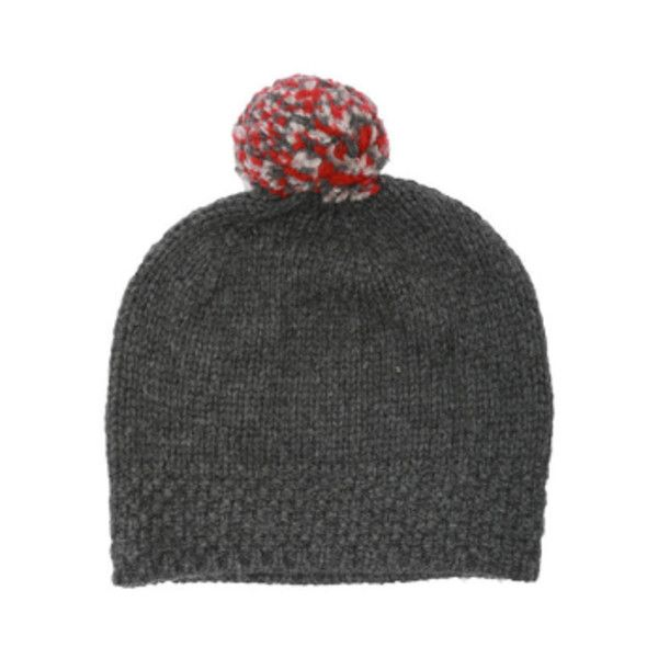 Grey Virgin Wool Pom Beanie Bobble Hat ($63) ❤ liked on Polyvore featuring accessories, hats, pom pom beanie, stitch hat, grey beanie, bobble hat and grey hat