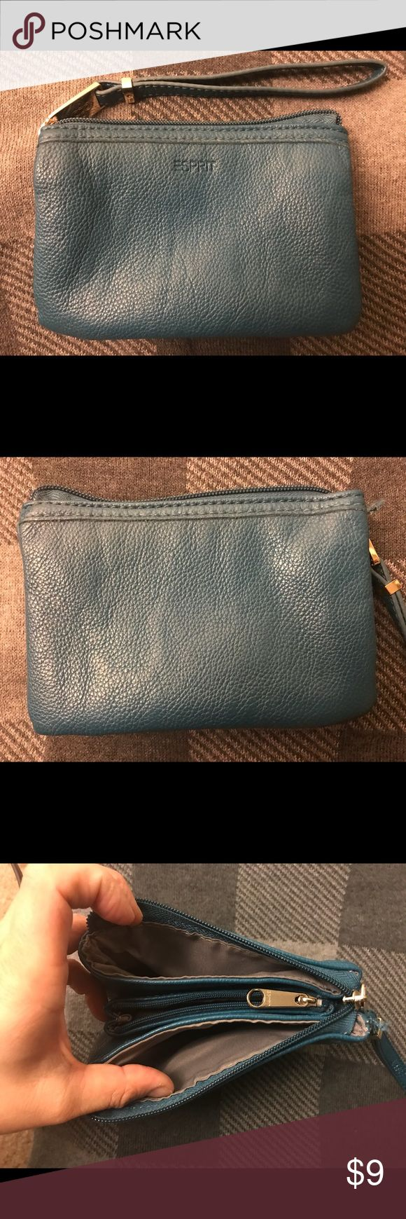 Esprit Wrislet Cute, casual wristlet.  One main zipper, three compartment. The middle one has a little zipper. Width 5.5' Length 3,5' Strap 6' Excellent conditions used a couple of times Esprit Bags Clutches & Wristlets