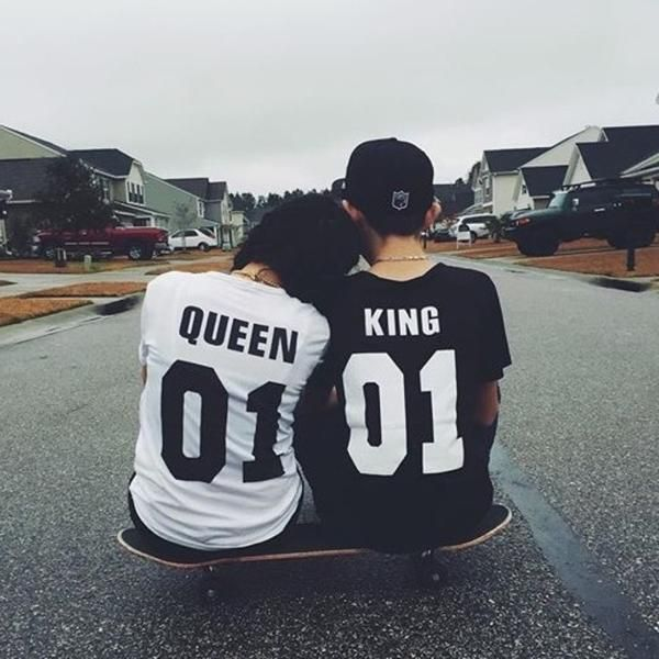 XS-4XL Street style trends King And Queen Letters Hip-hop Couples Tee shirts - Lupsona