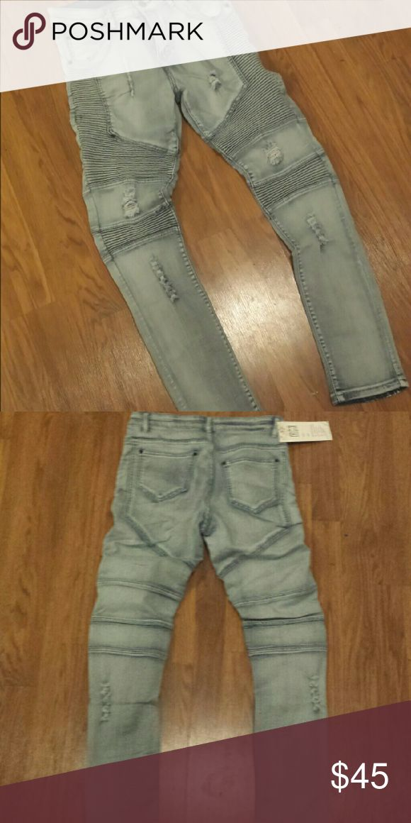 Mens Biker Style Jeans New with tags sz 30 Brand new mens biker style jeans They are brand new with tags. They are stretchy elastic denim to fit tight.  Size 30 mens Ships fast balmain Inspired Jeans Skinny