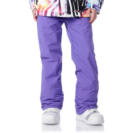 The Volcom girls 2012 Dame snow pants in purple have all the necessities for a dry and care free day on the slopes! Featuring the V-Science Oxford construction, critical taped seams, custom Volcom Stone animal print striping at back right pocket, hand warmer pockets, an adjustable inner waistband, boot gaiters with lace hooks, Velcro pocket closures and a customized Volcom Stone ticket ring.
