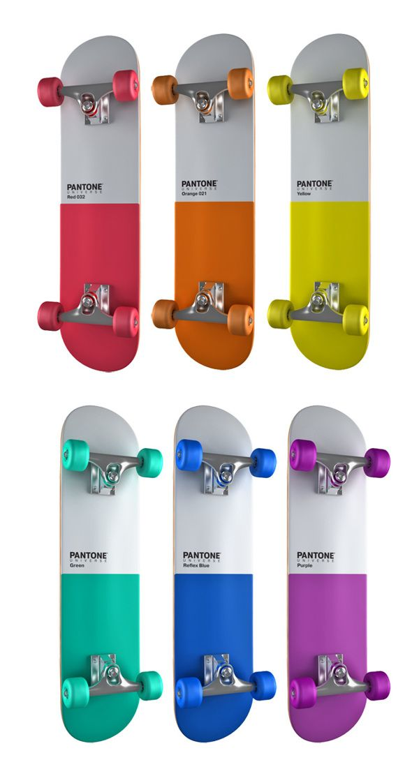 PANTONE skateboards by Pavel Kulinsky, via Behance - so freakin' cool!!!!