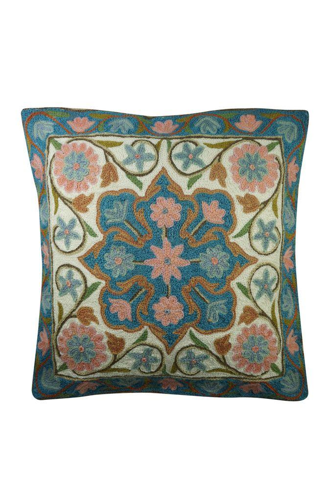 Bohemian Cushion Cover Suzani Floral Embroidered Handmade Pillow Case 16x16 #MogulInterior #Ethnic
