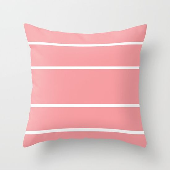Pink and White Line Stripes Throw Pillow by Bravely Optimistic | Society6