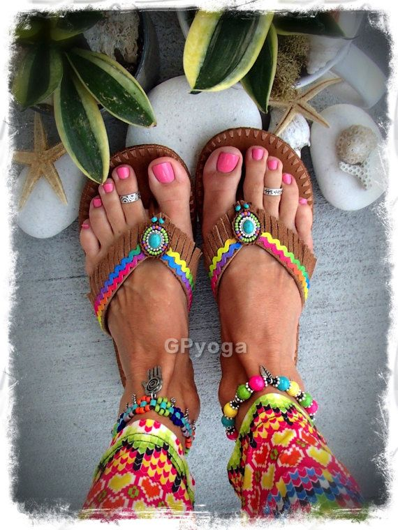 RAINBOW Brown flip flops US size 7-8 Leather Fringe sandals Colorful shoes Bohemian Summer Flower Girl Womens Fashion Festival Shoes GPyoga