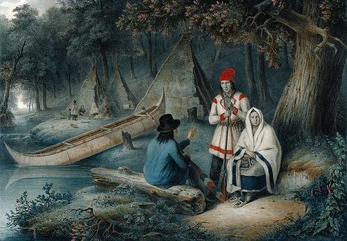 Indian Wigwam in Lower Canada by Cornelius Krieghoff, 1848. ~via thorsteinulf